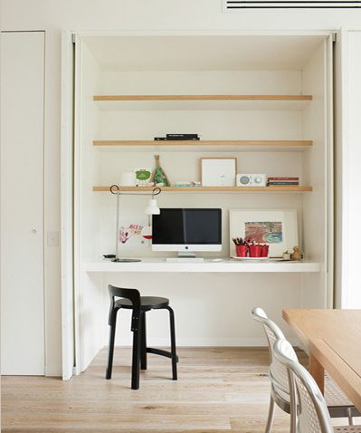 clever study nook design - I like the idea of being able to close it so its out of sight