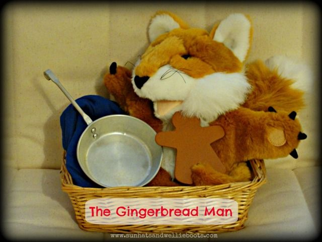 The Gingerbread Man Story Basket  Wooden figure - Gingerbread man  Small metal frying pan  Fox glove puppet  Blue cloth - to represent the river  (Optional: add small world figures to represent the characters the Gingerbread Man meets along the way)