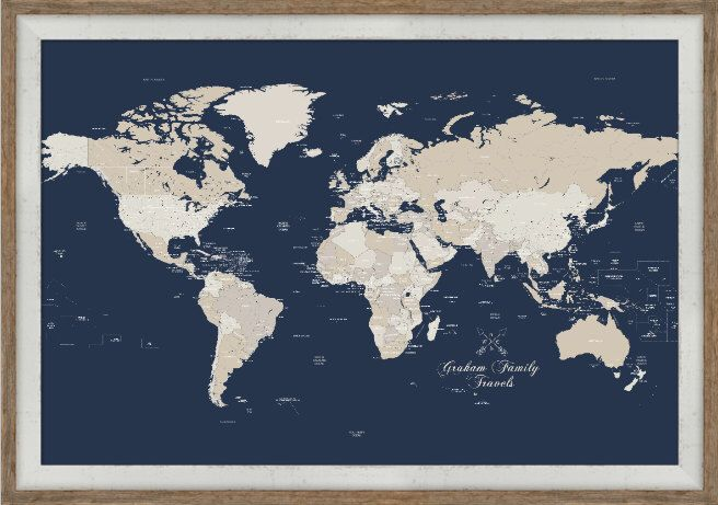 Push Pin Travel Map 24X36 Inches Framed World Map World Travel – Framed World Travel Map