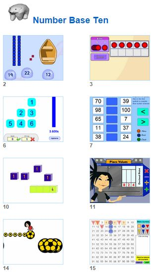 Math Number Base Ten activities for kids and their teachers from Johnnie's Math Page