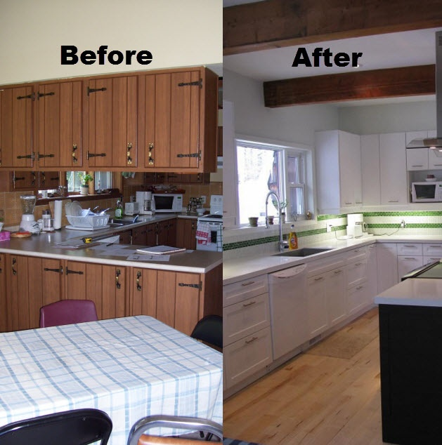 Before after affordable reno with counter top and cabinet for Kitchen cabinet refacing ideas