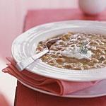 Healthy Rhubarb-Lentil Soup with Crème Fraîche Recipe