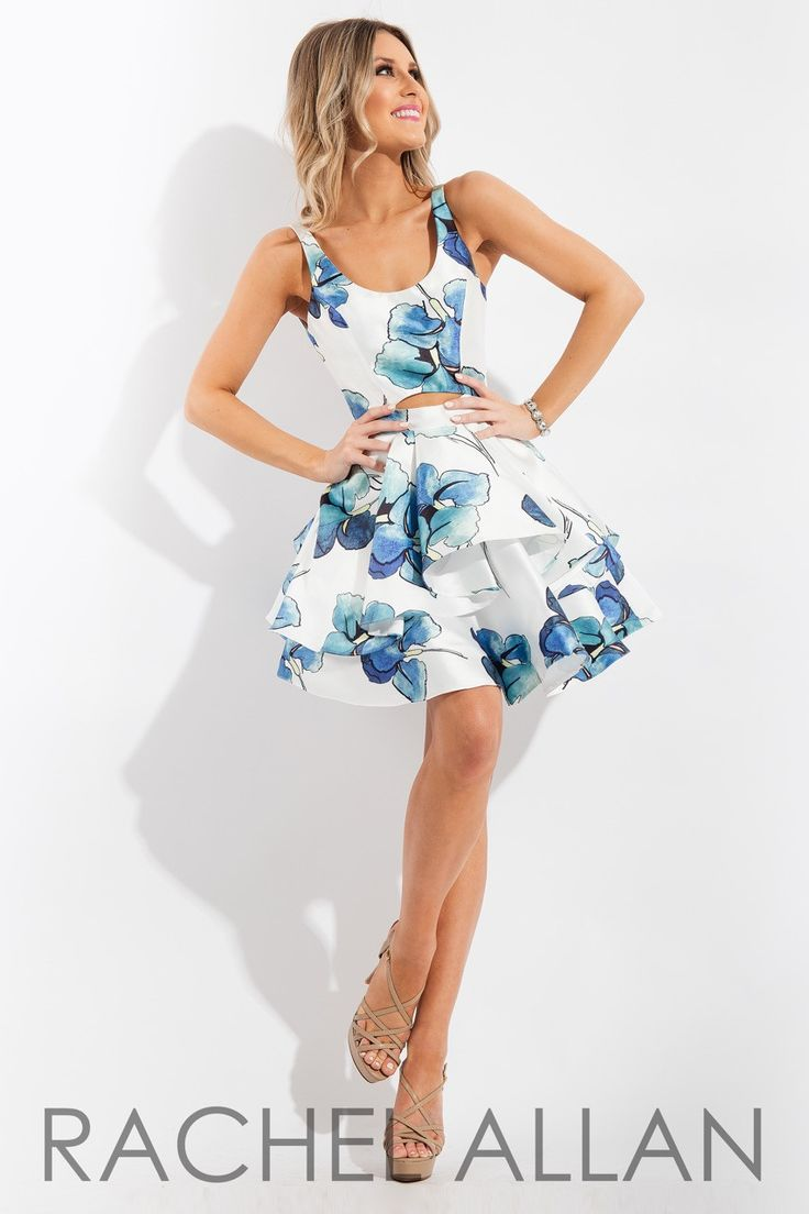 The Rachel Allan 4276 Dress Wows With An A Line Silhouette In Fl Print Mikado Held Slim Straps Framing Scoop Neckline And Open Back