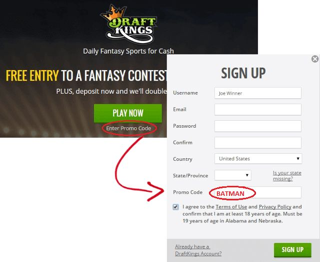 Enter BATMAN for the highest Draftkings promo code!   Get up to a $600 match on your deposit.