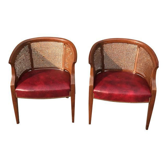 Image of Hickory Furniture Leather & Cane Vintage Club Chairs - Pair
