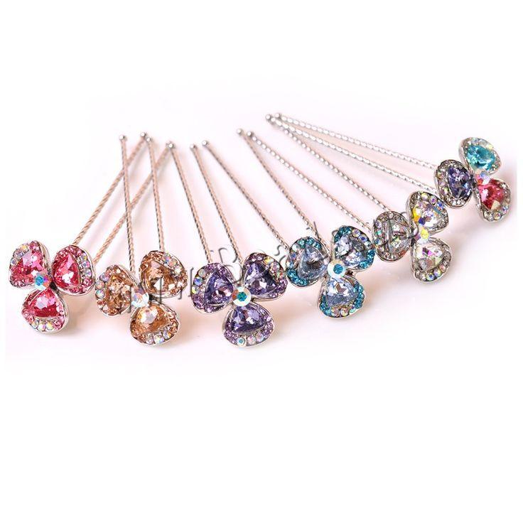 Pasadores para Cabello, aleación de zinc, con Cristal austriario, Flor, chapado en color de platina, facetas & con diamantes de imitación, más colores para la opción, libre de níquel, plomo & cadmio