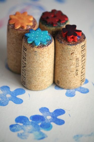 homemade stampers with wine corks and foam pieces - happy hooligans