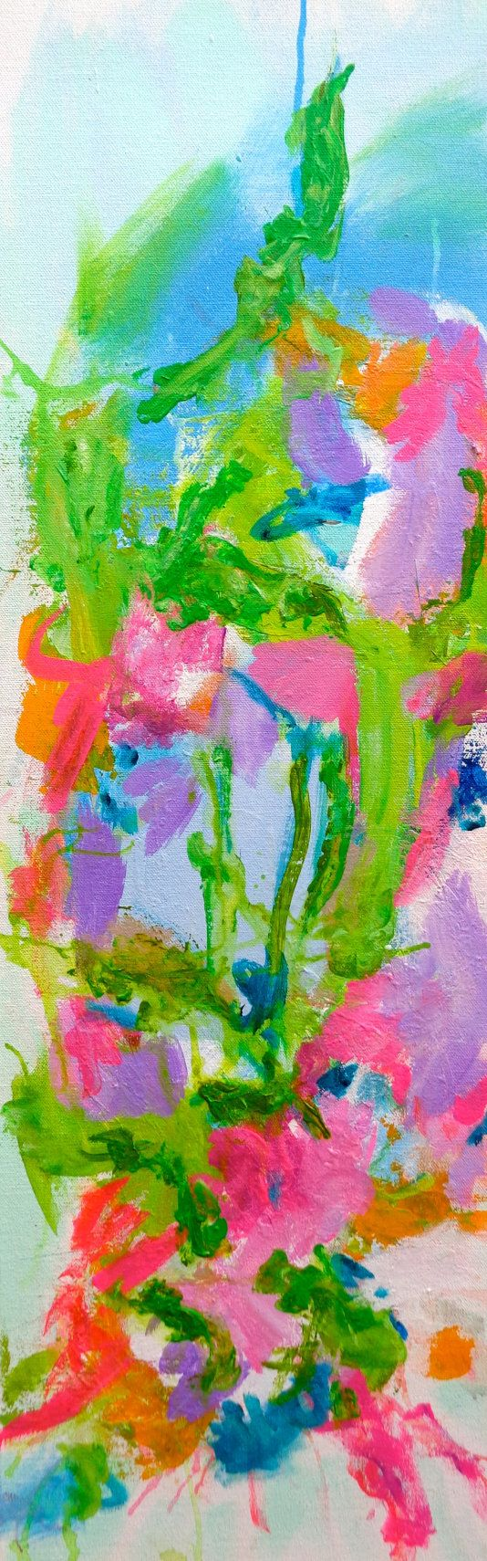 Abstract Floral Art Painting 12 X 24 Susan by susanskelleyart, $180.00