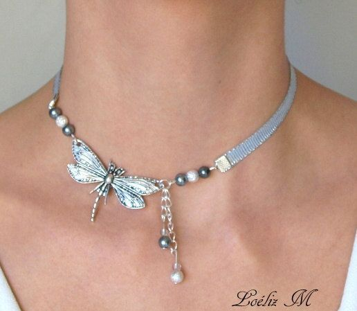 Kurze Halskette Silber Libelle Kragen, Silber Libellen, Silber Band, Poetic … #halskette #kragen #kurze #libelle #libellen #silber