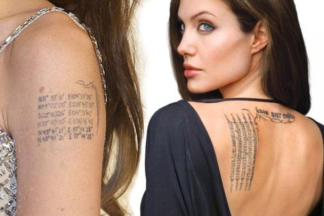Angelina Jolie S 15 Tattoos Their Meanings Body Art Guru Angelina Jolie Tattoo Celebrity Tattoos Tattoos