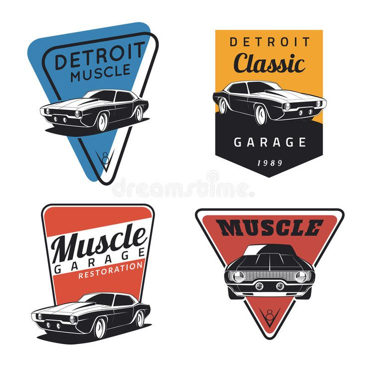 Set of classic muscle car emvlems. Set of classic muscle