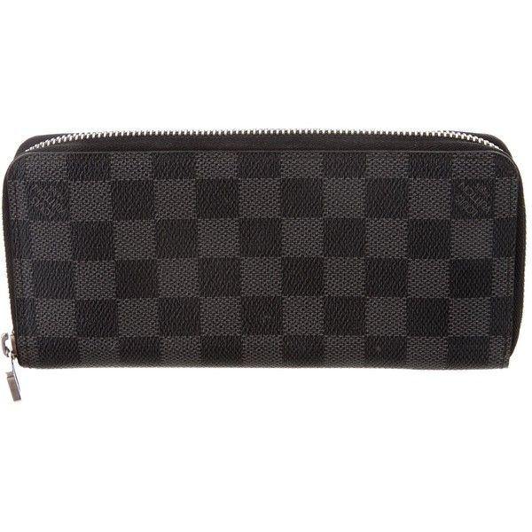 Pre-owned Louis Vuitton Damier Graphite Vertical Zippy Wallet (41.535 RUB) ❤ liked on Polyvore featuring men's fashion, men's bags, men's wallets, black, louis vuitton mens wallet, mens wallet and mens zip around wallet