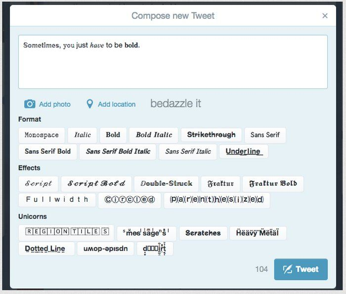 Extensión de Chrome que agrega un editor de texto enriquecido a Twitter.com para crear tweets únicos