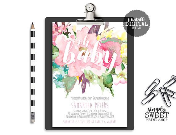 Oh Baby Baby Shower Invitation Floral Baby Shower Invitation