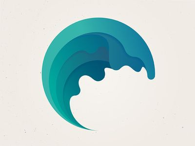 Interesting drippy-wave logo with shading within each layer. Really like the color  ☸ http://wa-ve.me