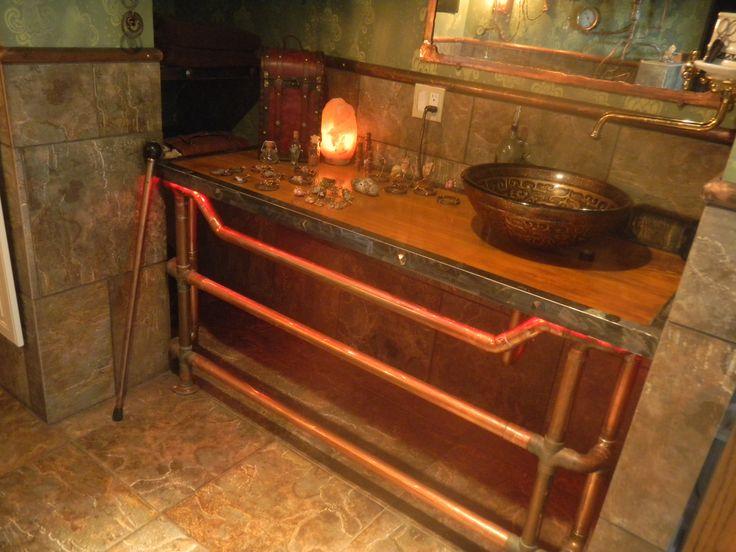Re Shot Of My Steampunk Bathroom Counter W Towel Warmer Sin Towel