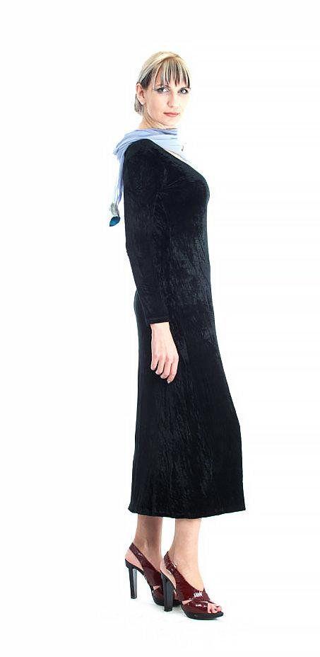 Velvet Midi Dress Vintage Womens 90s Black Black Velvet Dress