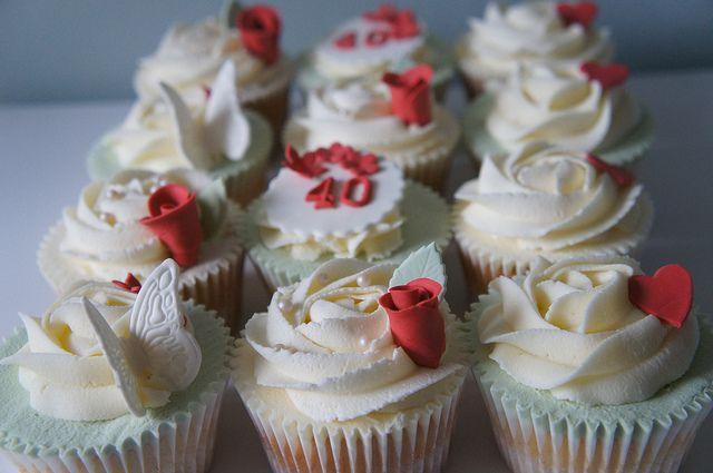 40th Wedding Anniversary Cupcakes by Kimmy Loves Cake, via Flickr