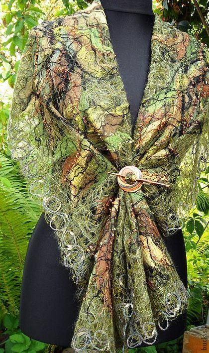 Handmade shawl crazy wool technique for women от crazywoolLT, $80.00