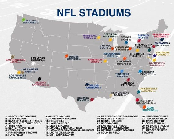 Nfl Stadiums Map Poster Etsy Nfl Stadiums Map Poster Stadium