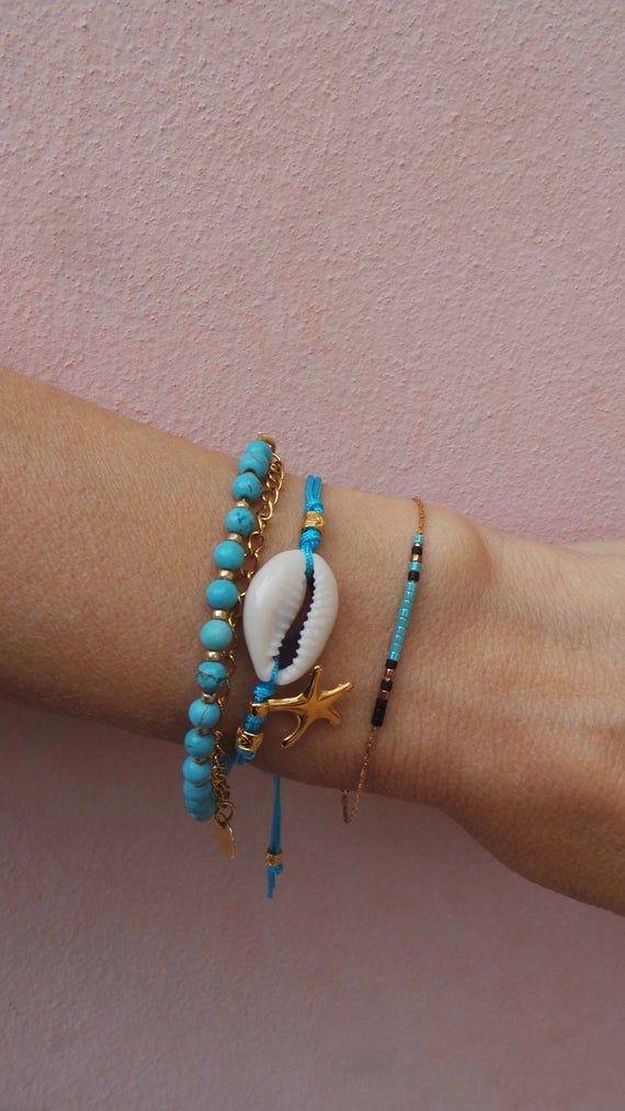 Summer ocean bracelet Unique gift for women Shell azure  beaded bracelet Best present for mom Beach unique turquoise bracelet Thank you gift
