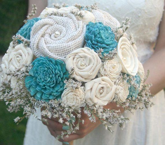 Aqua Teal Sola Wood Alternative Wedding Bouquet  by TheSunnyBee, $95.00