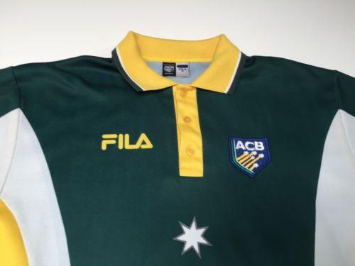 Vintage (Xl) Fila Acb Australia National Cricket Team Yellow Jersey Stars