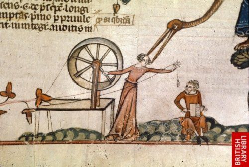 Detail of a bas-de-page scene of a woman at a spinning wheel, with a man seated nearby on the ground, and a monstrous bird in a tree. Dated to last quarter of 13th or first quarter of the 14th century. France, S. (Toulouse?)