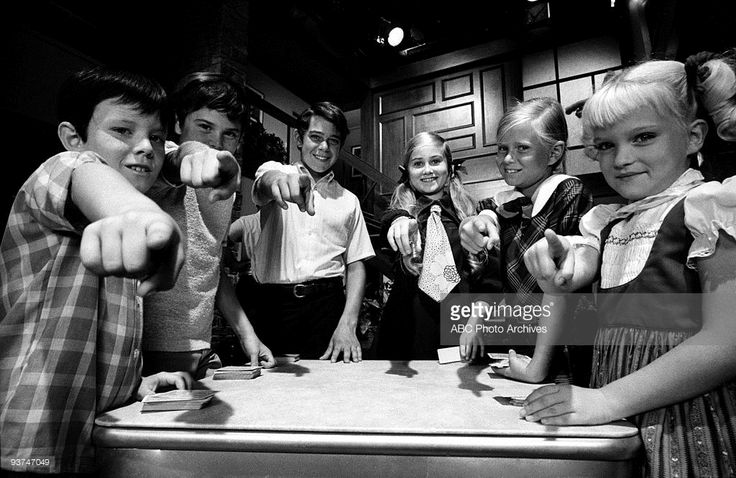 1970: Bobby (Mike Lookinland), Peter (Christopher Knight), Greg (Barry Williams), Marcia (Maureen McCormick), Jan (Eve Plumb) and Cindy (Susan Olsen) fought over what to get with their trading stamps.,