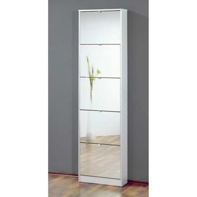 Commode meuble à chaussures blanc avec 5 abattants finition miroir, L 58 x H 169 x P 18 cm - Achat / Vente meuble à chaussures Commode meuble à chaussures… - Les soldes* sur Cdiscount ! Cdiscount