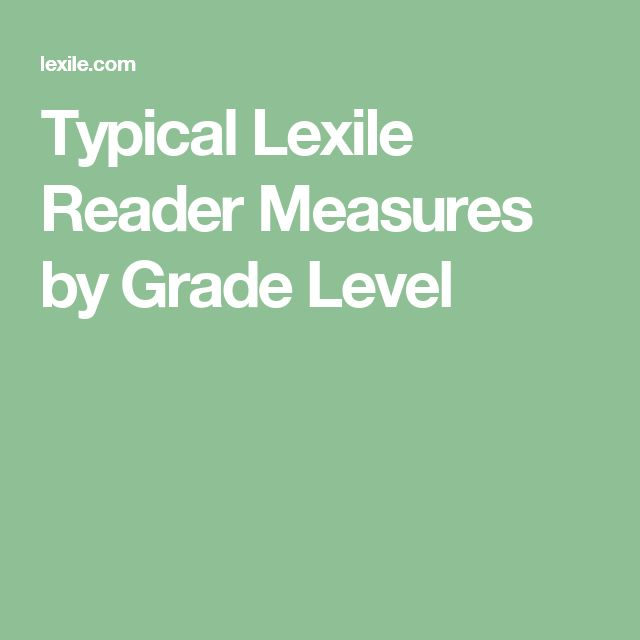 Typical Lexile Reader Measures by Grade Level