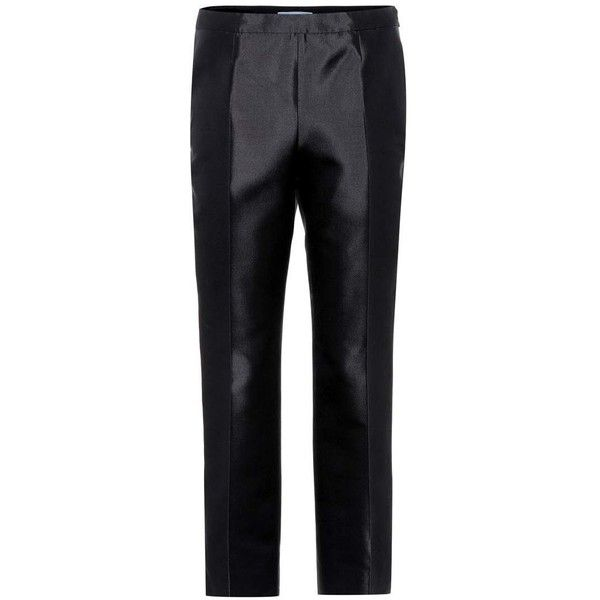 Prada Wool and Silk Trousers (€1.020) ❤ liked on Polyvore featuring pants, black, prada, silk trousers, prada pants, prada trousers and wool pants