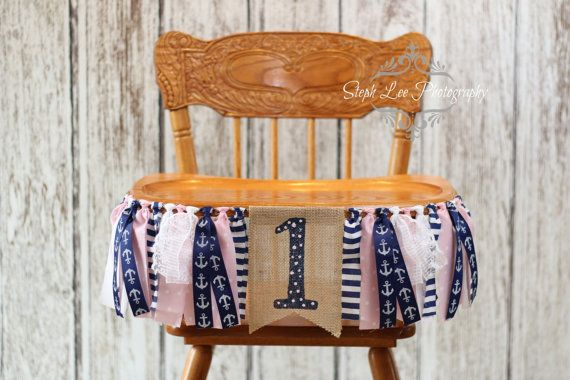 What a great way to personalize your childs birthday! Burlap, fabric strip and coordinating anchor ribbon banner, approximately 3 long. **Can be
