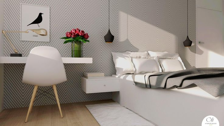 #bedroom #renovation - 3D Visualization - by Oli Interior Design Studio #modern #blackandwhite #monochromatic #elegant #interiordesigner #edesign #onlineservice