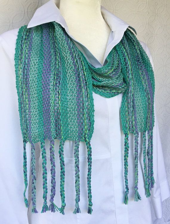 Turquoise Hand Woven Scarf - Handmade Scarf - Woven Scarf - Cotton Scarf - Turquoise Scarf - Summer Scarf - Christmas Gift - Gift for Her