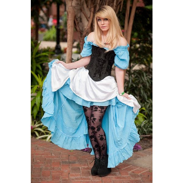 Alice in Wonderland Inspired Costume, Steampunk, Victorian, Cosplay,... ($455) ❤ liked on Polyvore featuring costumes, cosplay costumes, steam punk costumes, beer maiden costume, role play costumes and blue costume