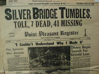 Article about the Point Pleasant bridge collapse and its resident Mothman, Indrid Cold, who came as a harbinger of disaster. Many people claimed to have met Indrid Cold, and wherever he ends up disaster and strange phenomenon follows. Many witnesses believe that the Grinning Man is actually one of the Men in Black linked to UFO sightings.