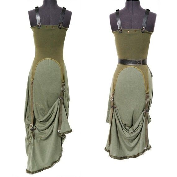 Khaki Green Dress cotton jersey  Green with Envy  by lummedesigns, €385.00