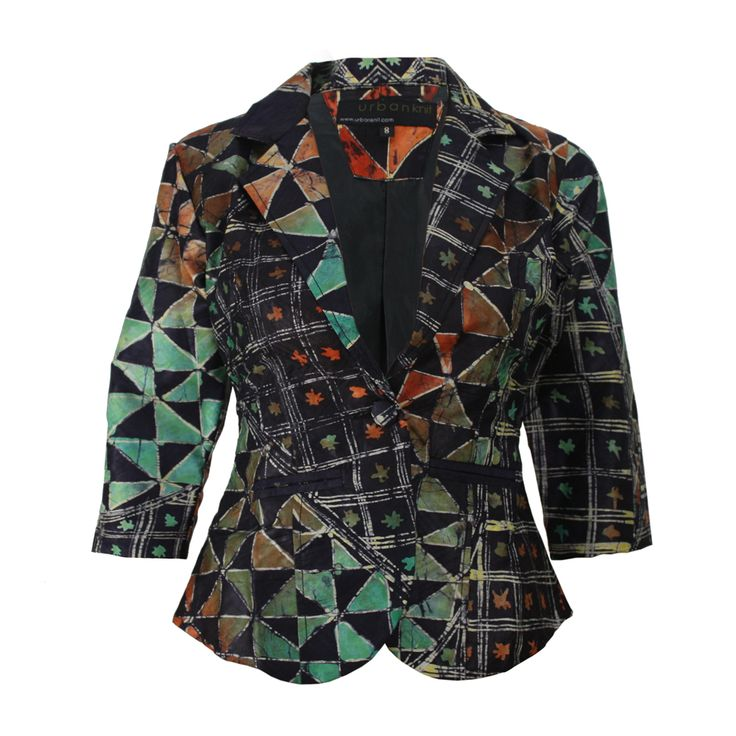 This funky African batik blazer is made from a lovely deep indigo fabric from Southern Nigeria, West Africa.