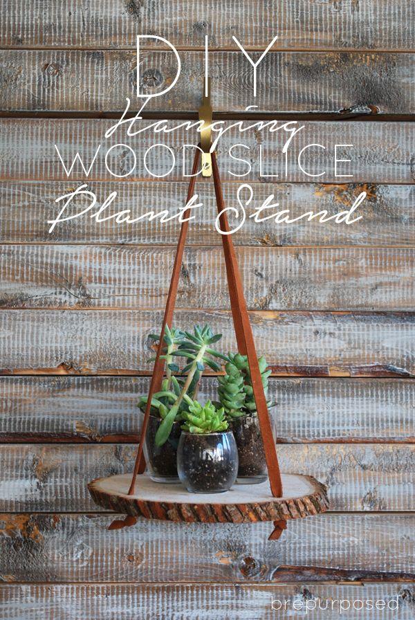 DIY Hanging Wood Slice Plant Stand - brepurposed