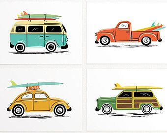 Vintage Car Art Set of 4 cute cars by LucyLovesPaper on Etsy