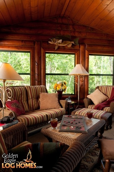 56 best images about rustic sunroom on pinterest rustic for Log cabin sunroom additions