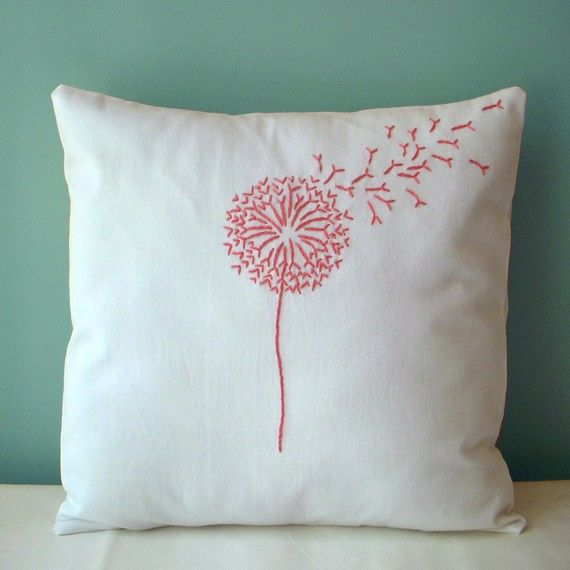 Pink Dandelion Pillow by MaDahms on Etsy $28.00