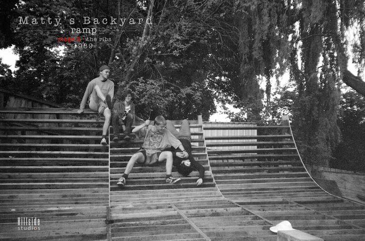 Matty's backyard ramp... stage 2. the ribs. spacing and attention to detail is a must, but there is always time to hammer smash slackers into lifting their game SkullyBloodrider. from the left: Matty + Nick + Apples with hammer + dead Nicksta 1989.