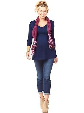 Cute way to wear your scarf....Maternity Clothes: Featured Outfits Outfits We Love | Old Navy