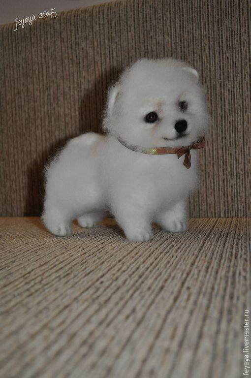 Купить Шпиц померанский Пушок - белый, шпиц, щенок, собака, пёс, подарок, шерсть 100%