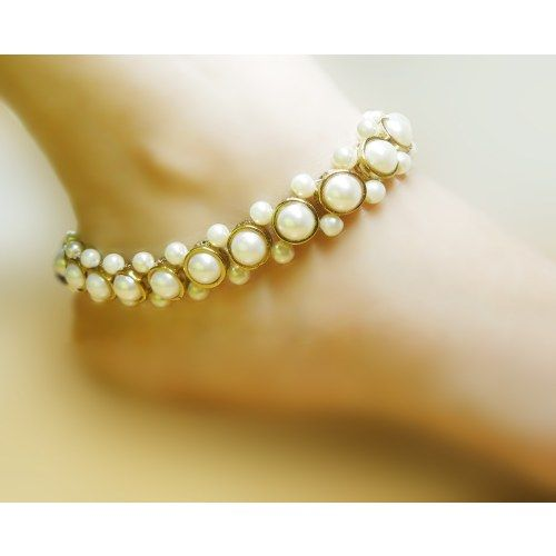 Online Shopping for Pearl studded anklet | Anklets | Unique Indian Products by Heartstrings by Jyoti Sudhir - MHEAR73233358270