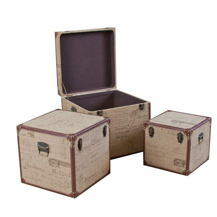 set of 3 stacking home decor storage trunks boxes w french scripted fabric