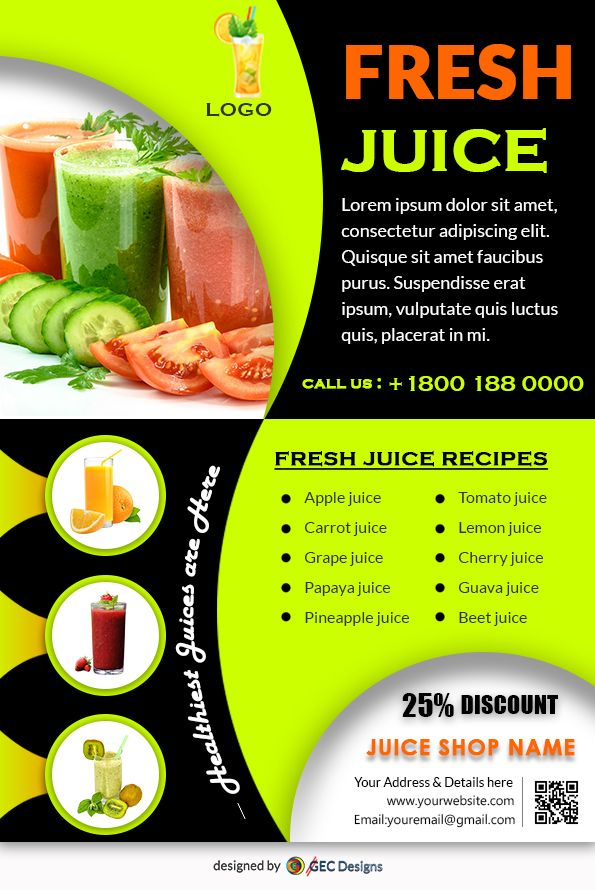Download Free Fruit Juice Shop Flyer Design Templates Juice Menu Fruit Free Fruit