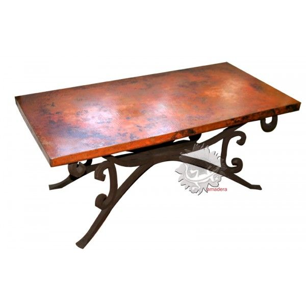 Table basse de salon exclusive plateau en cuivre pied en for Table bois pied fer forge
